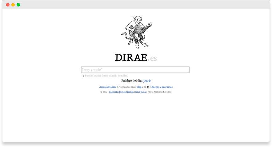 Diccionario inverso DIRAE