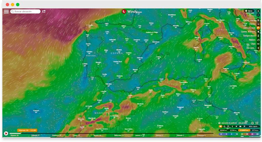 Windy app para meteorología